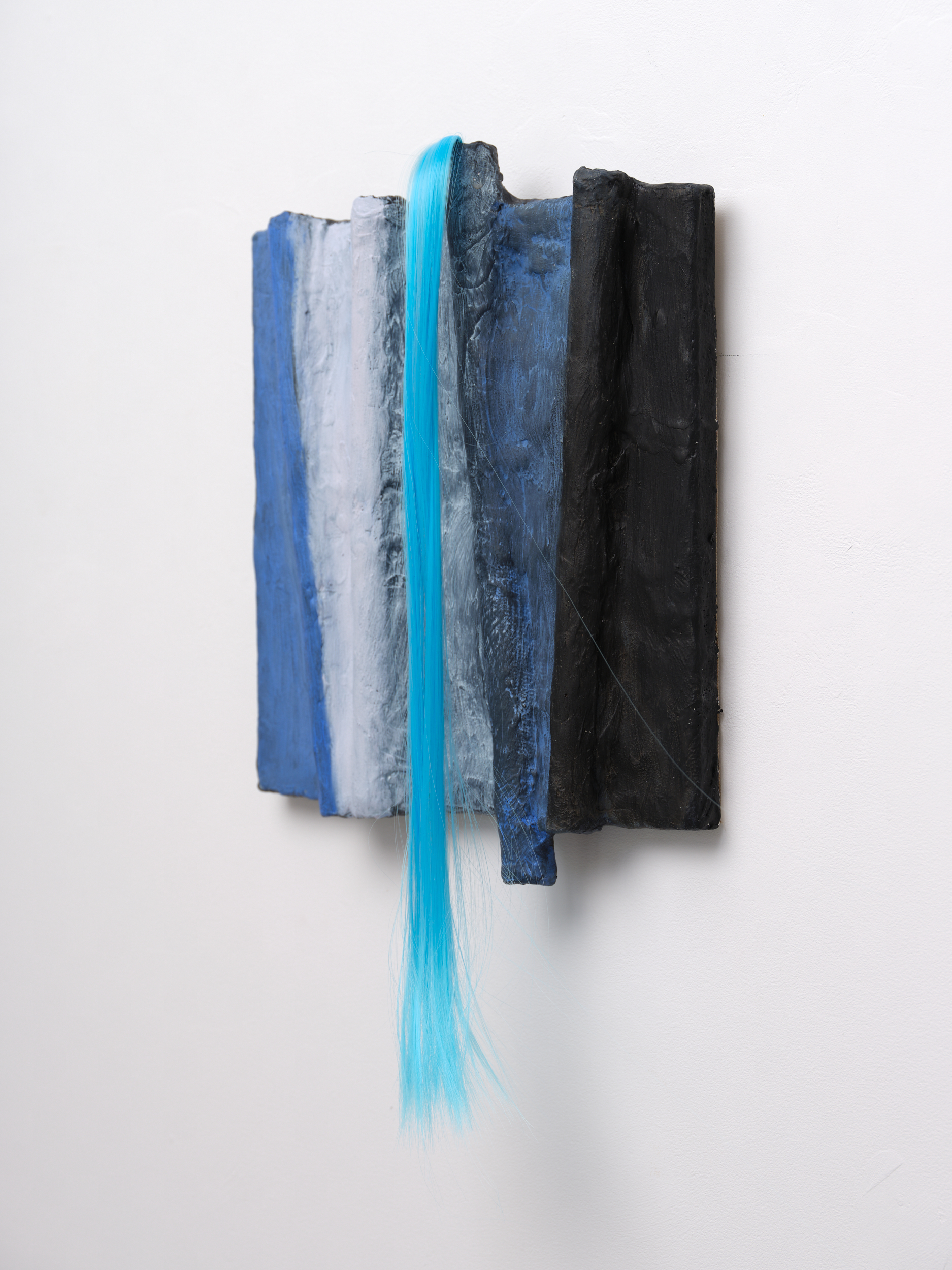 Sculptural painting by Rachel Walters in Plaster bandage, plumbers pipe, acrylic, oil and synthetic hair on stretcher titled Frank