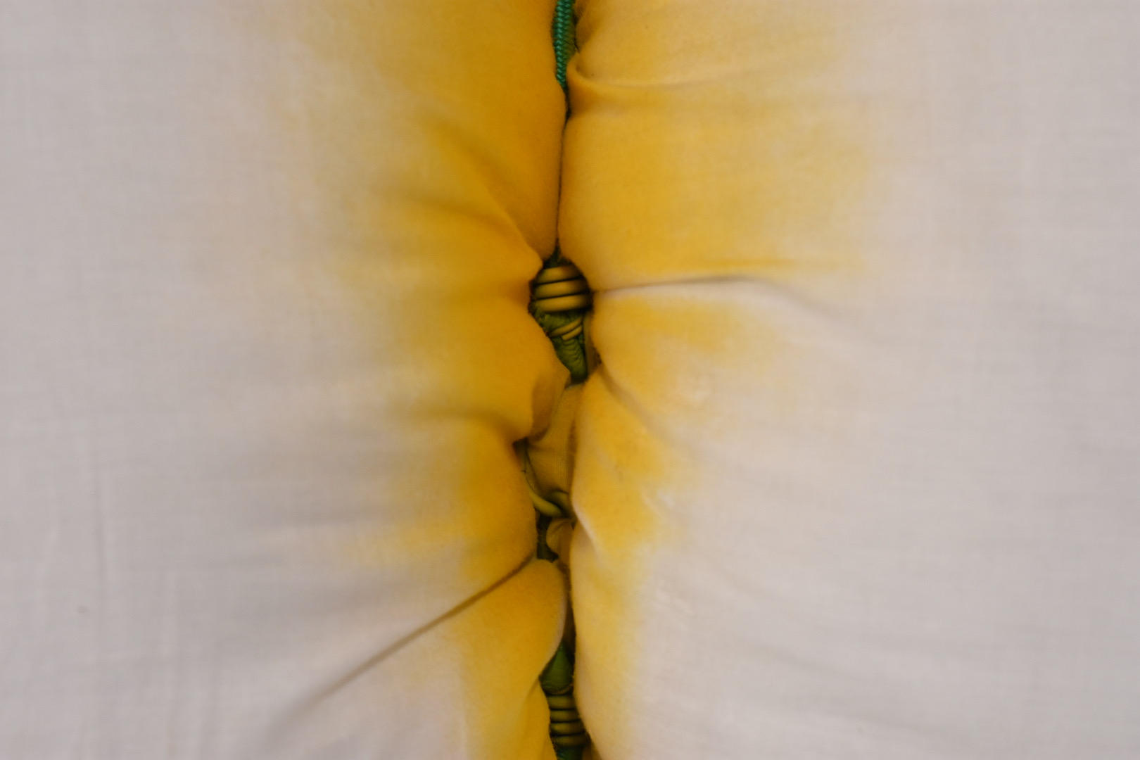 Sculpture by Rachel Walters- canvas, pillow, bungee cord, spray paint and golden earrings